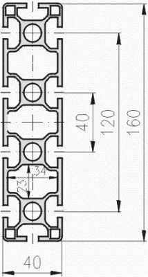 1.11.040160.104LP - aluminium Profiel 40x160, 10E LP - tekening
