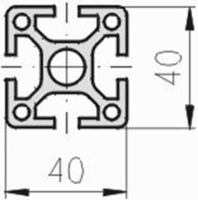 1.11.040040.43SP - aluminium Profiel 40x40, 4E SP (zwaar profiel) - tekening