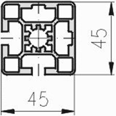 1.11.045045.22LP - Aluminium Profiel 45x45, 2E, Eck, LP