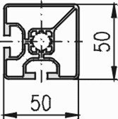 1.11.050050.22L - aluminium Profiel 50x50, 2E Eck L - tekening