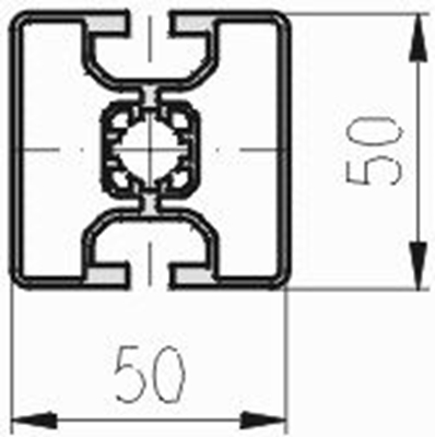 1.11.050050.23L - aluminium Profiel 50x50, 2E L - tekening