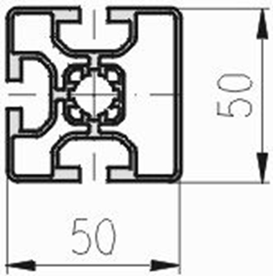 1.11.050050.33L - aluminium Profiel 50x50, 3E L - tekening