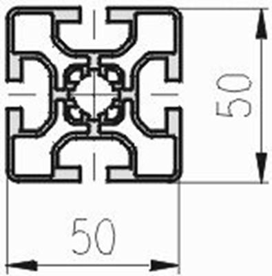 1.11.050050.43L - aluminium Profiel 50x50, 4E L - tekening