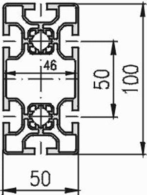 1.11.050100.64L - aluminium Profiel 50x100, 6E L - tekening