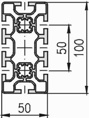 1.11.050100.84L - aluminium Profiel 50x100, 8E L - tekening