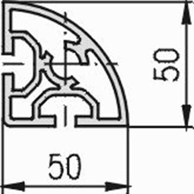 1.11.050050.21S - aluminium Profiel 50x50, 2E, Soft S - tekening