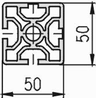 1.11.050050.22S - aluminium Profiel 50x50, 2E Soft S - tekening