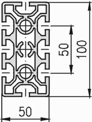 1.11.050100.84S - aluminium Profiel 50x100, 8E S - tekening