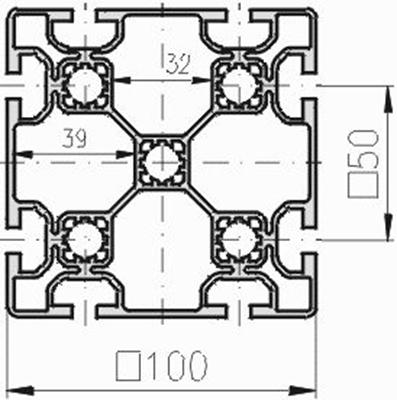 1.11.100100.83L - aluminium Profiel 100x100, 8E L - tekening