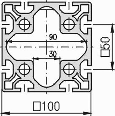 1.11.100100.83S - aluminium Profiel 100x100,8E S - tekening