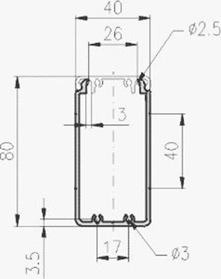 1.19.204080G - aluminium E-kanaal profiel 40x80 - tekening
