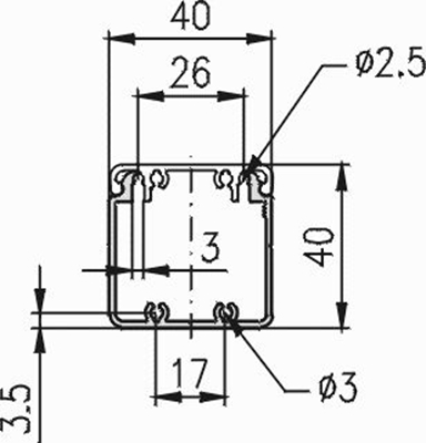 1.19.204040G - aluminium E-kanaal profiel 40x40 - tekening