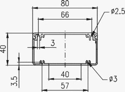 1.19.208040G - aluminium E-kanaal profiel 80x40 - tekening