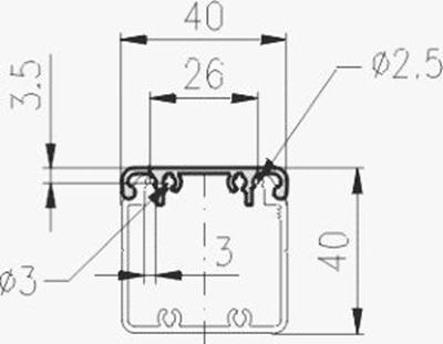 1.19.2040D - aluminium E-kanaal profiel, deksel 40 - tekening