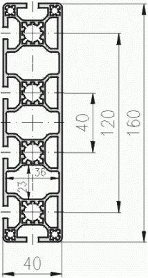 1.11.040160.64LP - aluminium Profiel 40x160, 6E LP