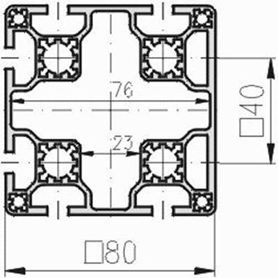1.11.080080.63LP - aluminium Profiel 80x80 6E LP
