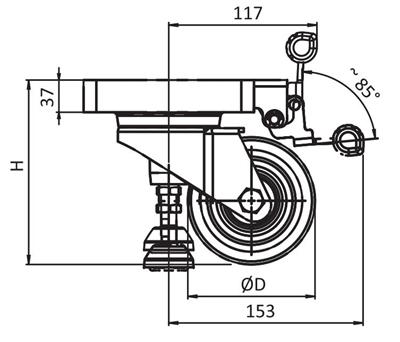 1.45.82150.080 - Zwenkwiel met liftfunctie D80 170kg PA