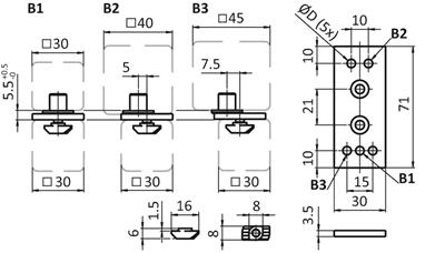 1.69.3071.0810 - Vouwdeur element (SET)