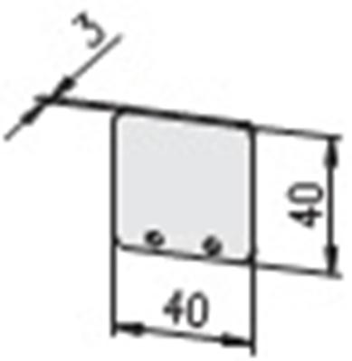 1.19.204040G - aluminium E-kanaal Eindkap 40x40 - tekening