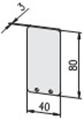 1.19.204080G - aluminium E-kanaal Eindkap 40x80 - tekening